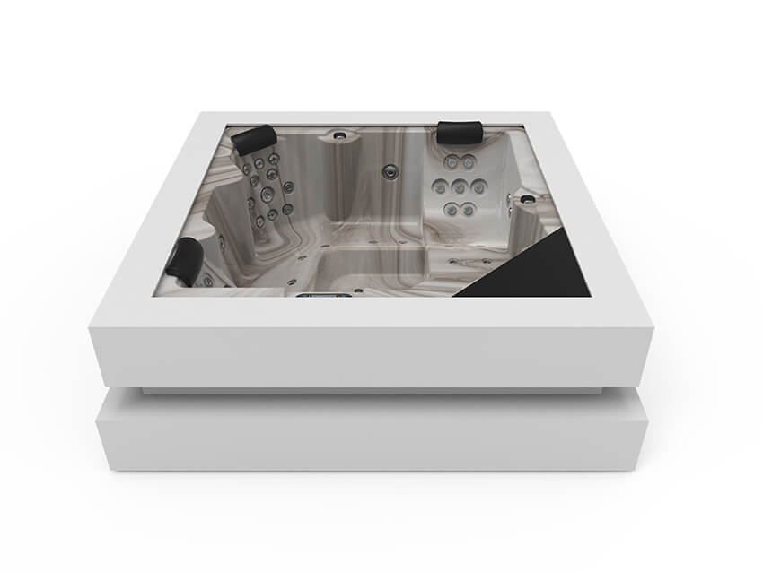 Aquavia cube ergo spa with white surround and sand insert
