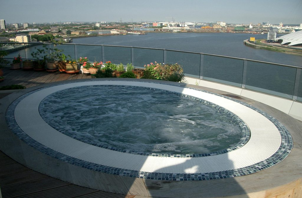tiled hot tub spa